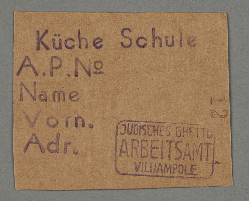1995.89.95 front Work pass from the Kovno ghetto