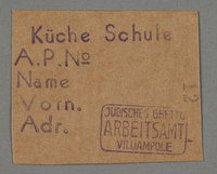 1995.89.95 front Work pass from the Kovno ghetto  Click to enlarge