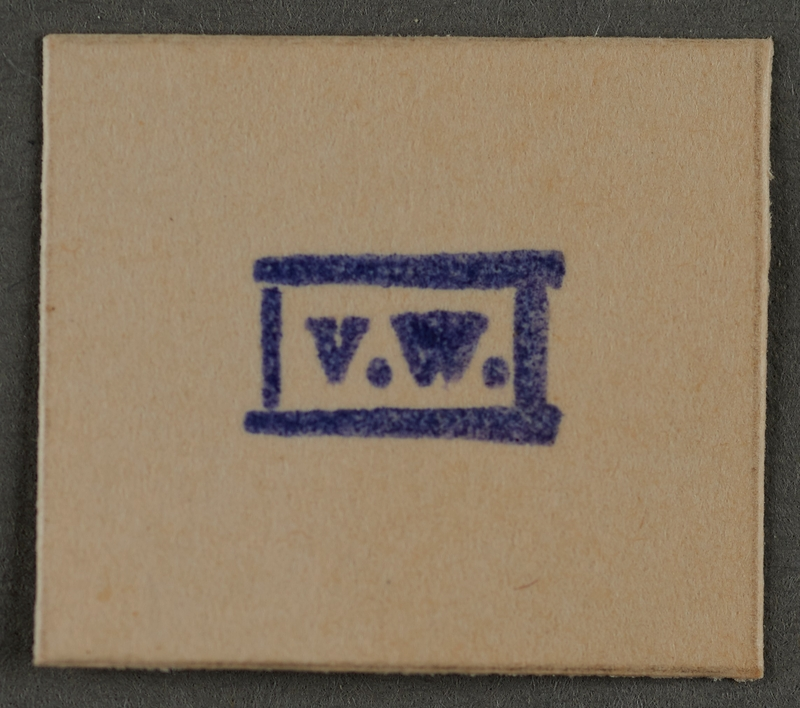 1995.89.951 front Ink stamp impression from an administrative department of the Kovno ghetto