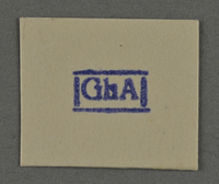 1995.89.954 front Ink stamp impression from an administrative department of the Kovno ghetto  Click to enlarge