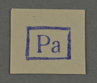 1995.89.957 front Ink stamp impression from an administrative department of the Kovno ghetto  Click to enlarge