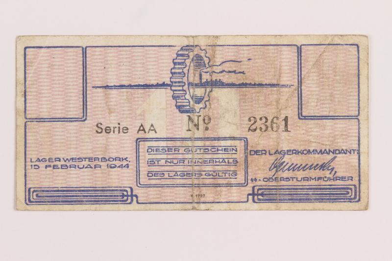 1989.31.2 front Westerbork transit camp voucher, 10 cent note