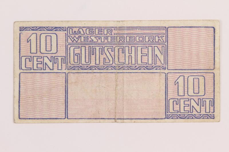 1989.31.2 back Westerbork transit camp voucher, 10 cent note