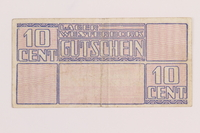 1989.31.2 back Westerbork transit camp voucher, 10 cent note  Click to enlarge