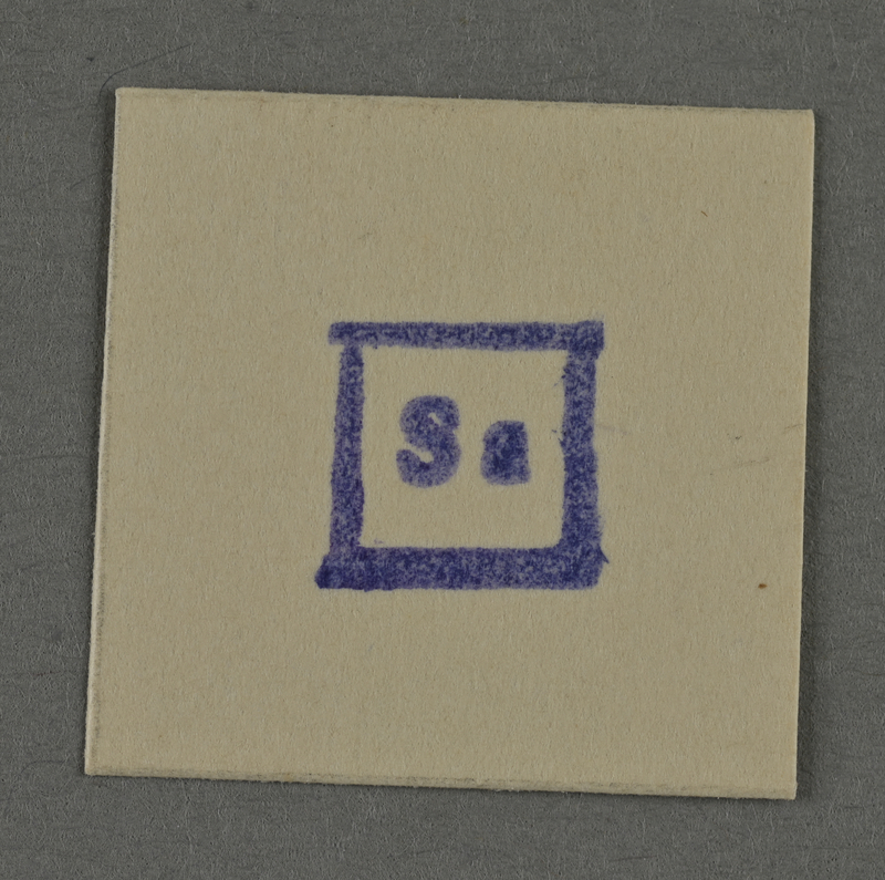 1995.89.960 front Ink stamp impression from an administrative department of the Kovno ghetto