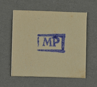 1995.89.961 front Ink stamp impression from an administrative department of the Kovno ghetto  Click to enlarge