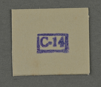 1995.89.963 front Ink stamp impression from an administrative department of the Kovno ghetto  Click to enlarge