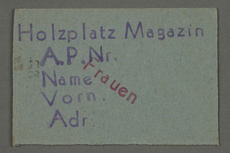 1995.89.97 front Work pass from the Kovno ghetto