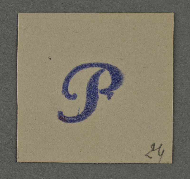 1995.89.971 front Ink stamp impression from an administrative department of the Kovno ghetto