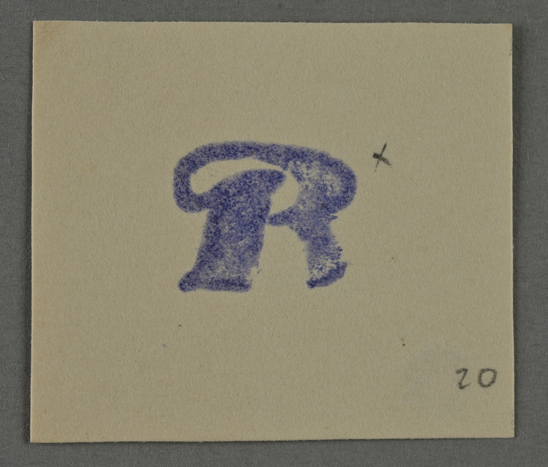 1995.89.972 front Ink stamp impression from an administrative department of the Kovno ghetto