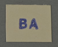 1995.89.975 front Ink stamp impression from an administrative department of the Kovno ghetto  Click to enlarge