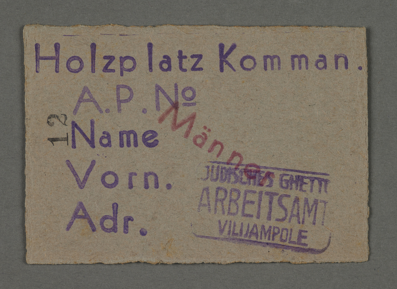 1995.89.98 front Work pass from the Kovno ghetto