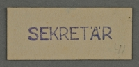 1995.89.987 front Ink stamp impression from an administrative department of the Kovno ghetto  Click to enlarge