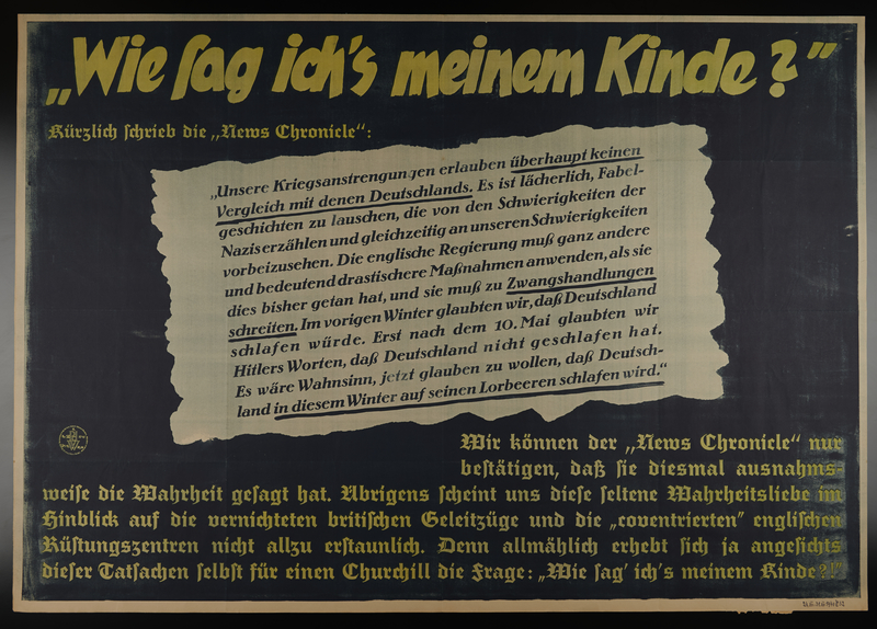 1995.96.1 front Nazi propaganda poster using British news reports to praise the power of the German Reich