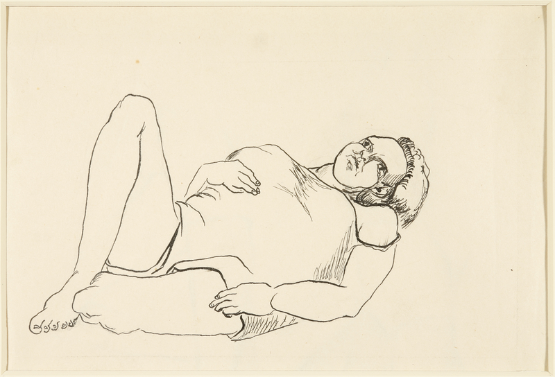 1988.1.43 front Drawing of a heavyset woman laying on her back by a German Jewish internee