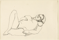 1988.1.43 front Drawing of a heavyset woman laying on her back by a German Jewish internee  Click to enlarge