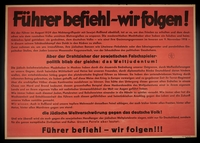1995.96.122 front Nazi propaganda poster  Click to enlarge
