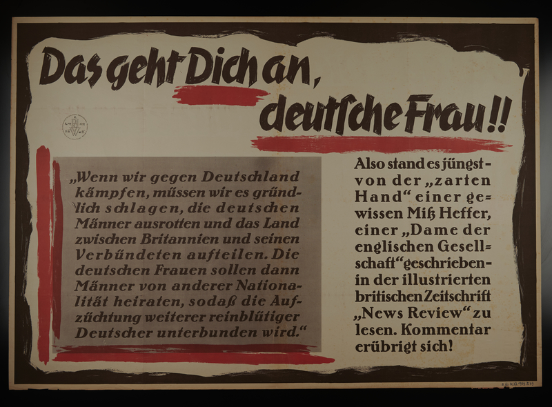 1995.96.149 front Nazi propaganda text only poster warning German woman of British threats to defile them