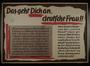 Nazi propaganda text only poster warning German woman of British threats to defile them