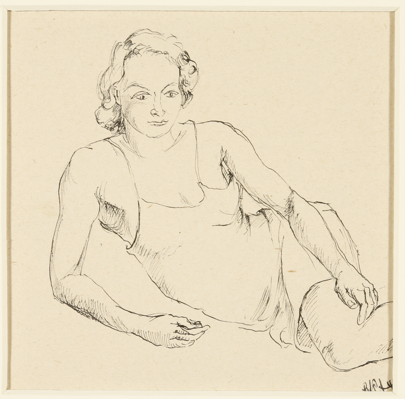 1988.1.44 front Portrait of lounging woman wearing a slip by a German Jewish internee