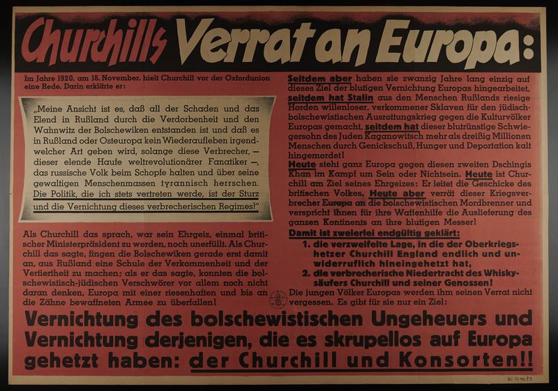 1995.96.57 front Text only Nazi propaganda poster denouncing Churchill