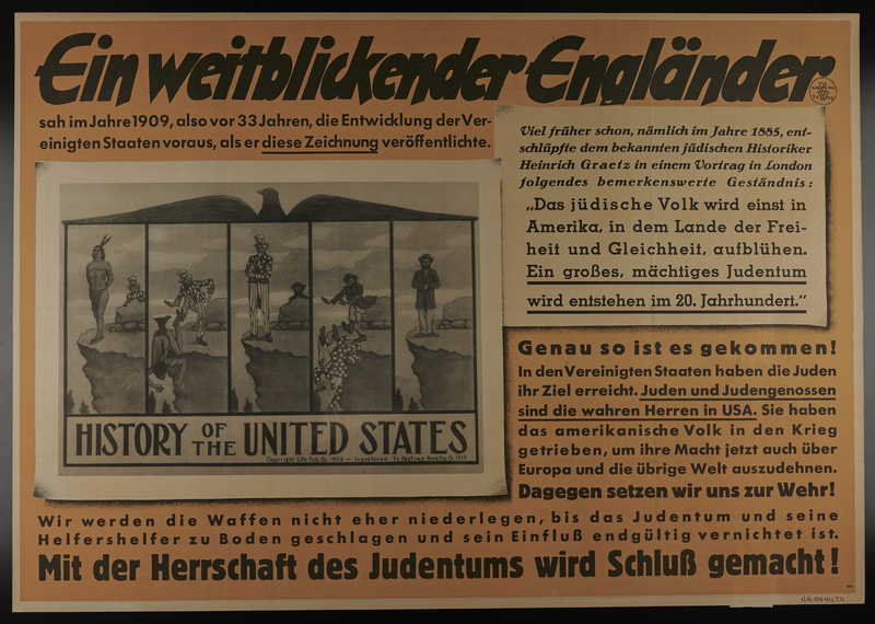 1995.96.81 front Nazi poster on the need to destroy the US-Jewish conspiracy to rule the world