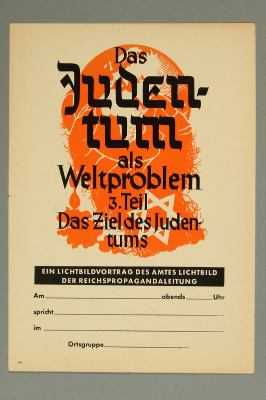 1995.97.5 front Flier for a lecture on the worldwide Jewish conspiracy by the Reich Propaganda Agency
