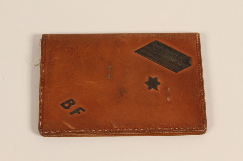 1996.107.3 front Handmade leather ID case made for a Jewish work leader