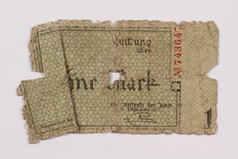 1996.110.1 front Łódź (Litzmannstadt) ghetto scrip, 1 mark note