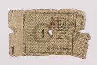 1996.110.1 back Łódź (Litzmannstadt) ghetto scrip, 1 mark note  Click to enlarge