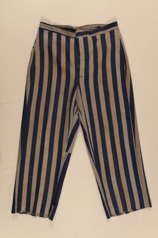 1996.116.1 front Concentration camp uniform pants worn by Polish Jewish inmate