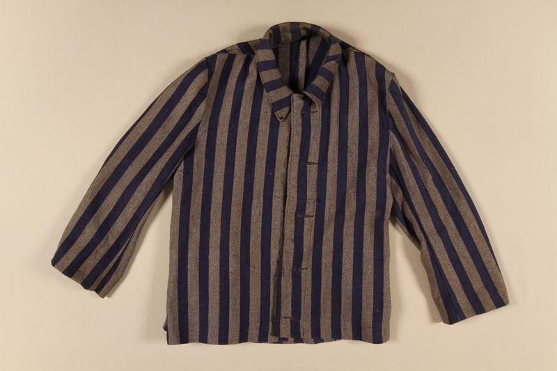 1996.116.2 front Concentration camp uniform jacket worn by Polish Jewish inmate