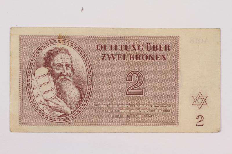 1996.118.2 front Theresienstadt ghetto-labor camp scrip, 2 kronen note