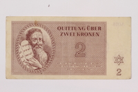 1996.118.2 front Theresienstadt ghetto-labor camp scrip, 2 kronen note  Click to enlarge