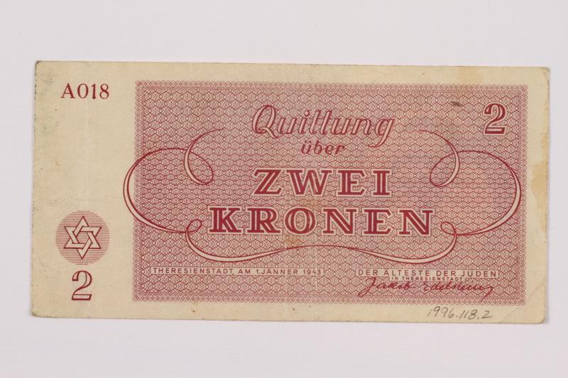 1996.118.2 back Theresienstadt ghetto-labor camp scrip, 2 kronen note