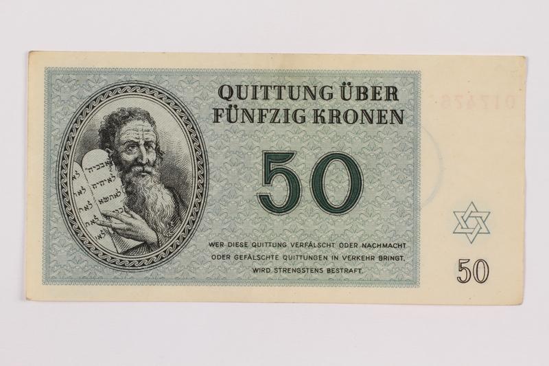 1996.118.3 front Theresienstadt ghetto-labor camp scrip, 50 kronen note
