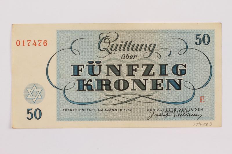 1996.118.3 back Theresienstadt ghetto-labor camp scrip, 50 kronen note