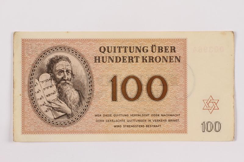 1996.118.4 front Theresienstadt ghetto-labor camp scrip, 100 kronen note