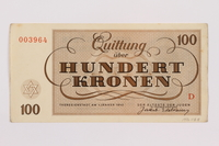 1996.118.4 back Theresienstadt ghetto-labor camp scrip, 100 kronen note  Click to enlarge