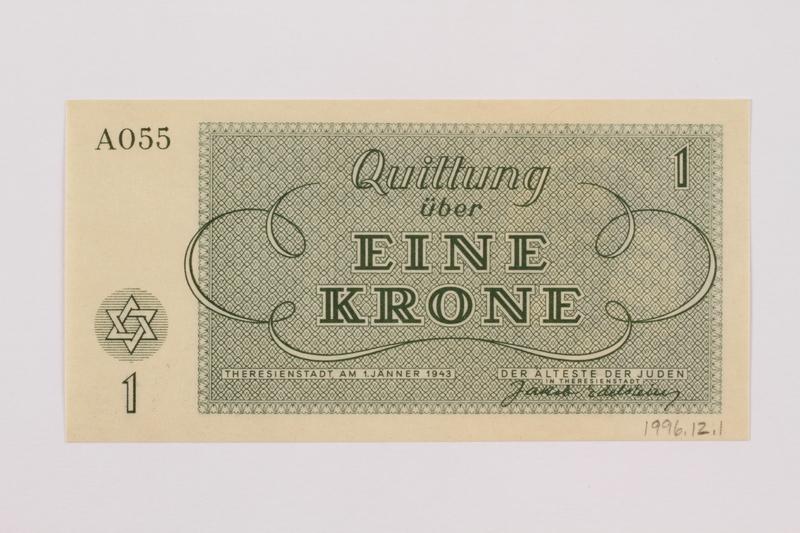 1996.12.1 back Theresienstadt ghetto-labor camp scrip, 1 krone note