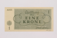 1996.12.1 back Theresienstadt ghetto-labor camp scrip, 1 krone note  Click to enlarge