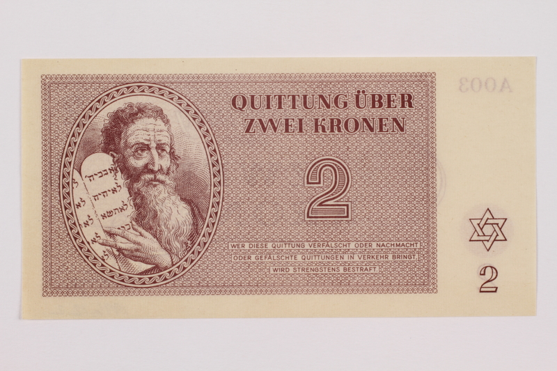 1996.12.1 front Theresienstadt ghetto-labor camp scrip, 1 krone note
