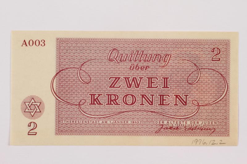 1996.12.2 back Theresienstadt ghetto-labor camp scrip, 2 kronen note