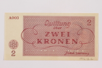 1996.12.2 back Theresienstadt ghetto-labor camp scrip, 2 kronen note  Click to enlarge