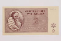 1996.12.2 front Theresienstadt ghetto-labor camp scrip, 2 kronen note  Click to enlarge