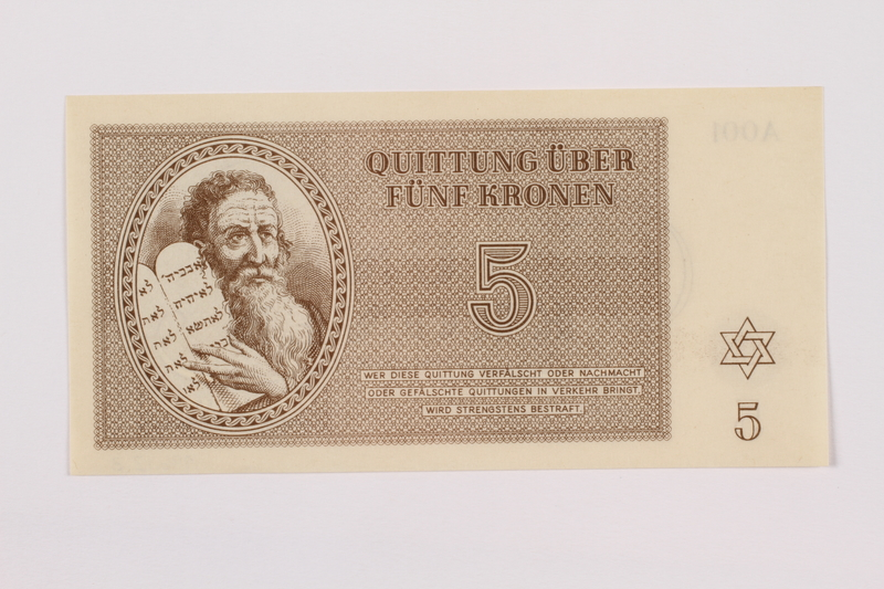1996.12.3 front Theresienstadt ghetto-labor camp scrip, 5 kronen note