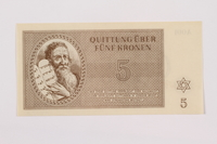 1996.12.3 front Theresienstadt ghetto-labor camp scrip, 5 kronen note  Click to enlarge