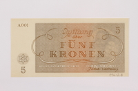 1996.12.3 back Theresienstadt ghetto-labor camp scrip, 5 kronen note  Click to enlarge