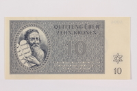 1996.12.4 front Theresienstadt ghetto-labor camp scrip, 10 kronen note  Click to enlarge