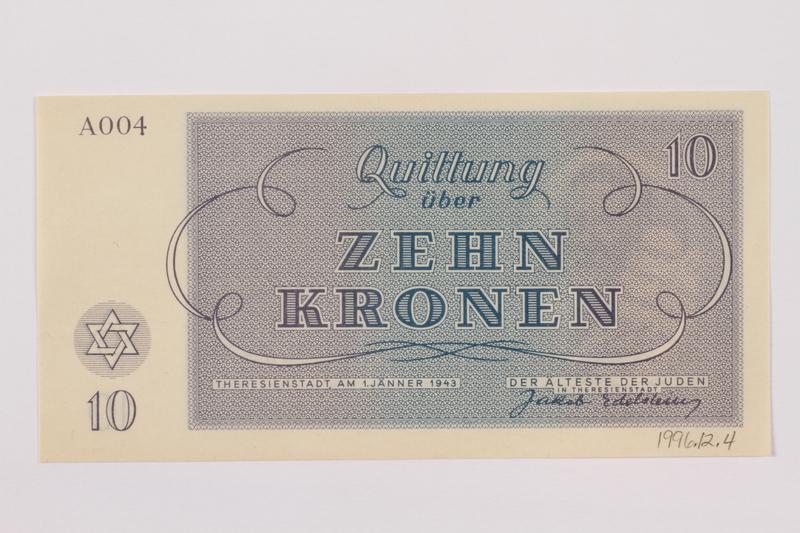 1996.12.4 back Theresienstadt ghetto-labor camp scrip, 10 kronen note